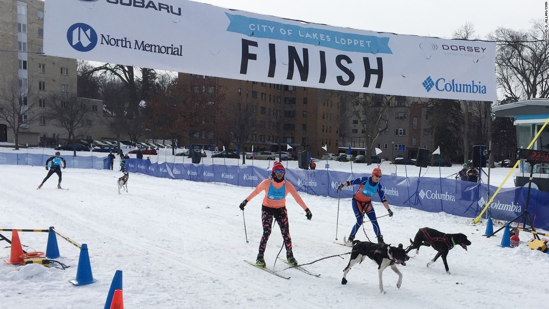 The Loppet's main skijor race is 10 kilometers around frozen Lake Calhoun.