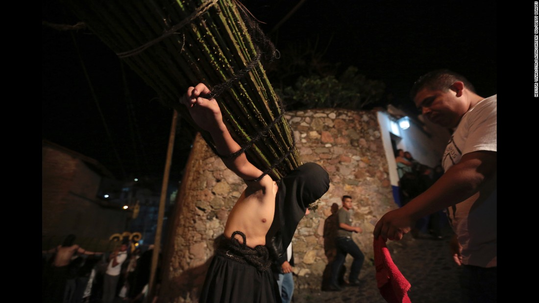 In Taxco, Mexico, penitents march while whipping their backs or carrying thorny sticks.