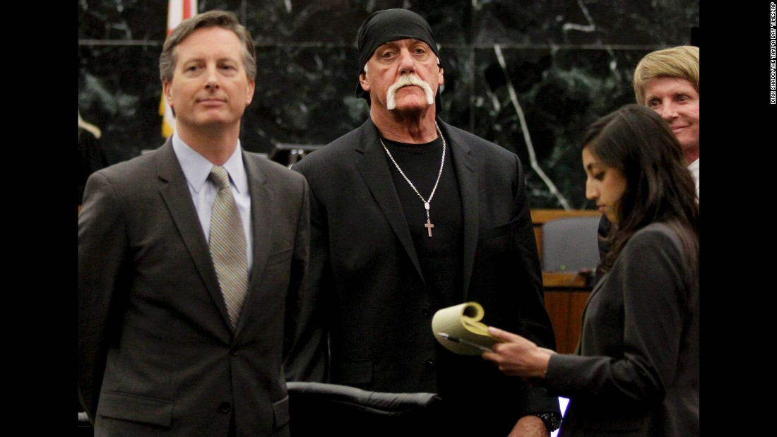 "Former pro wrestler Hulk Hogan, second from left, appears in court Monday, March 21, after a jury in St. Petersburg, Florida, <a href=""http://money.cnn.com/2016/03/18/media/hulk-hogan-gawker-jury-deliberations/"" target=""_blank"">awarded him $115 million</a> in an invasion-of-privacy suit. Hogan sued Gawker Media, saying the website invaded his privacy by publishing part of a sex tape in 2012."