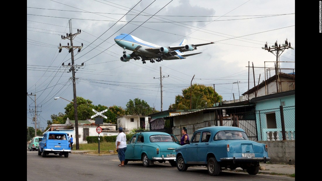 "Air Force One flies over a neighborhood in Havana, Cuba, before landing in the island country on Sunday, March 20. U.S. President Barack Obama <a href=""http://www.cnn.com/2016/03/20/americas/gallery/obama-cuba-visit/index.html"" target=""_blank"">visited Cuba</a> with his wife and daughters. He became the first sitting President to visit since Calvin Coolidge in 1928."