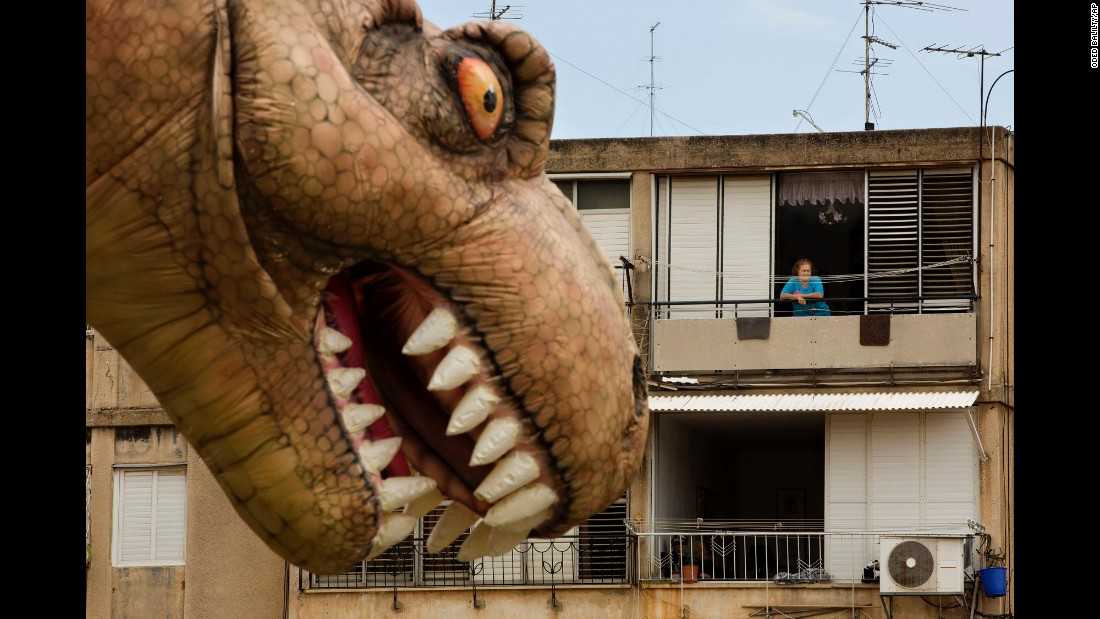 "A dinosaur balloon floats through Petah Tikva, Israel, during a parade for the Jewish holiday of Purim on Thursday, March 24. <a href=""http://www.cnn.com/2016/03/18/world/gallery/week-in-photos-0318/index.html"" target=""_blank"">See last week in 34 photos</a>"