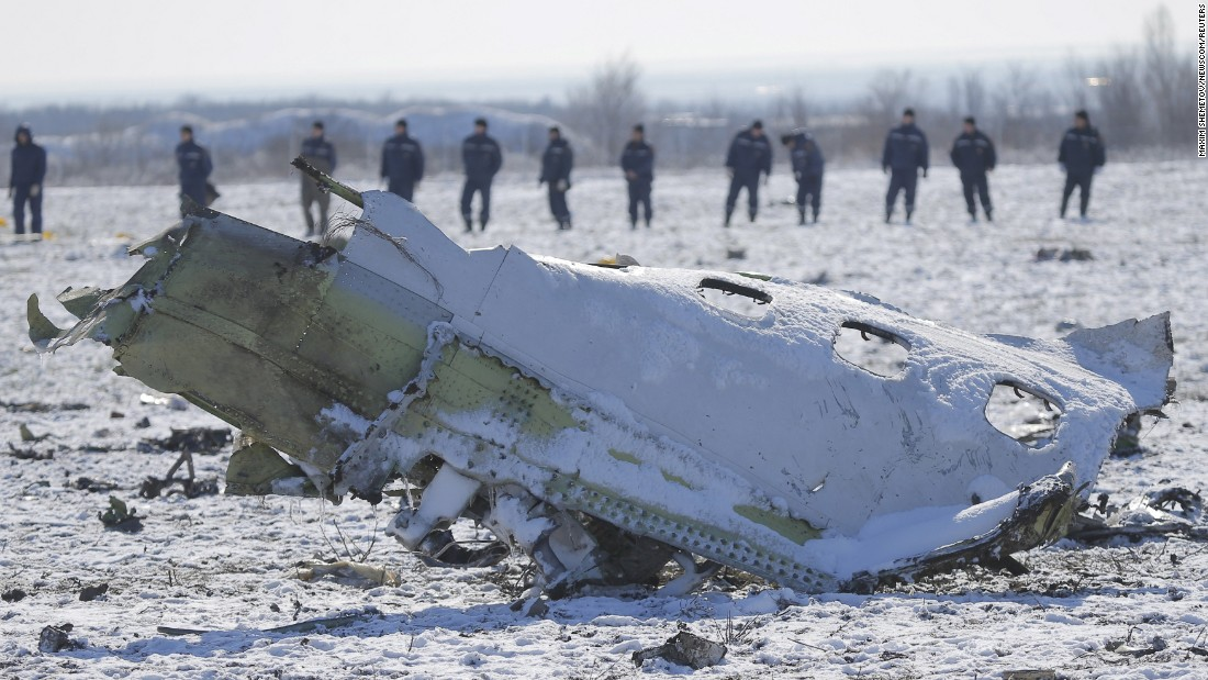 "Authorities work at the site of a plane crash in Rostov-on-Don, Russia, on Sunday, March 20. A passenger jet from the United Arab Emirates <a href=""http://www.cnn.com/2016/03/18/europe/russia-plane-crash/"" target=""_blank"">crashed during a landing attempt,</a> killing all 62 people aboard."
