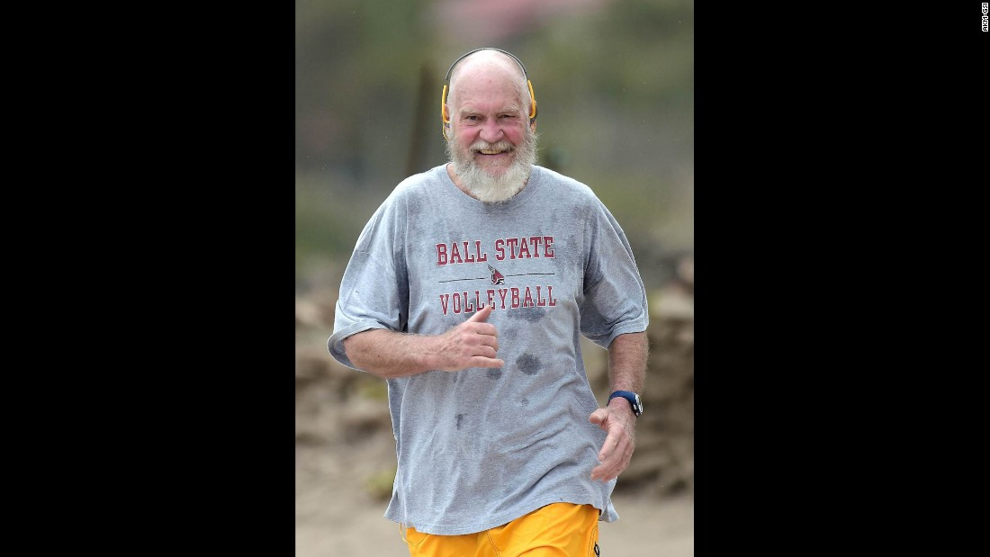 "Former talk-show host David Letterman <a href=""http://www.cnn.com/2016/03/23/entertainment/david-letterman-beard-santa-feat/"" target=""_blank"">looks a little different these days</a> as he jogs in St. Barts, France, on Tuesday, March 22."