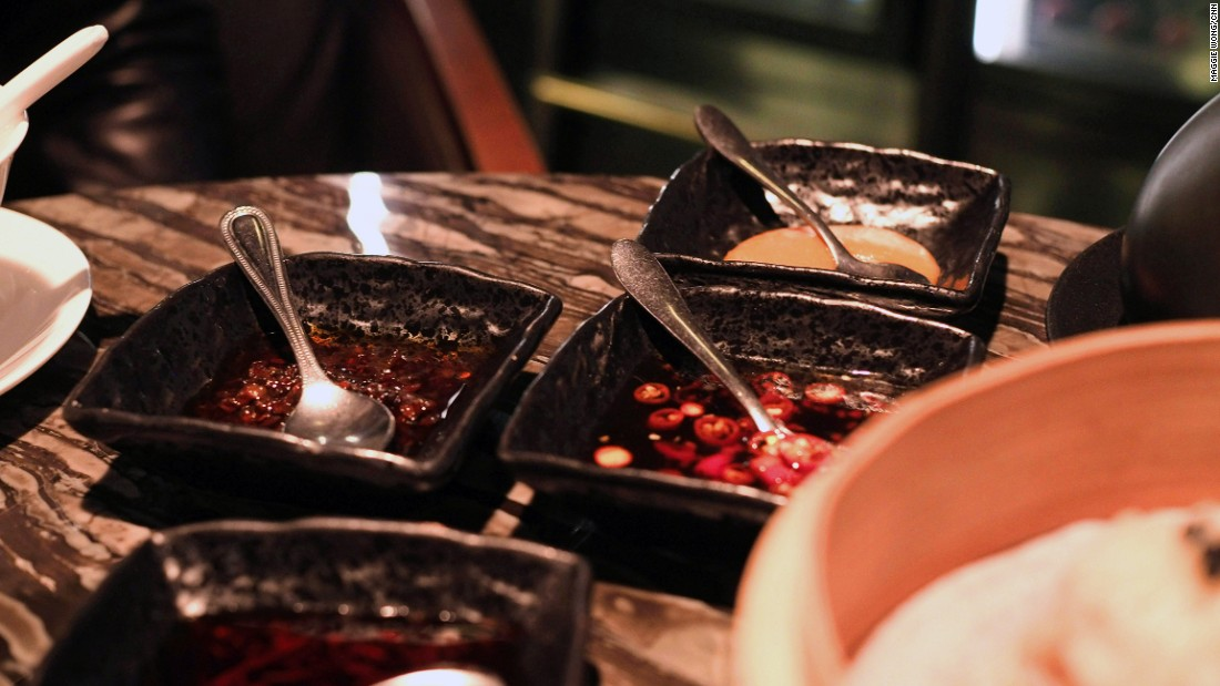 There are three styles of chili sauces at Mott 32. Yu kwen yick, an orange chili paste with a unique sour finish, is a Hong Kong favorite condiment.