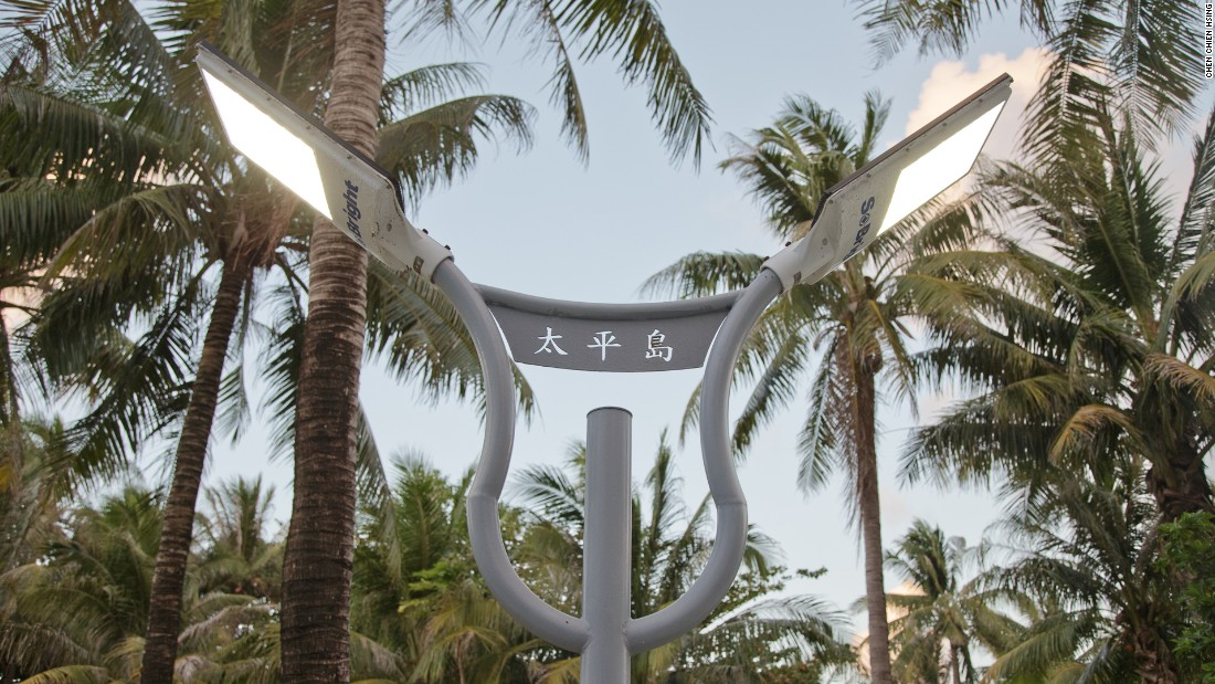 A solar-powered street lamp on Taiping Island.