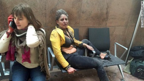 Nidhi Chaphekar, right, a 40-year-old Jet Airways flight attendant from Mumbai, and another unidentified woman after being wounded in Brussels Airport in Brussels, Belgium, after explosions were heard. The Indian flight attendant who was injured in the Brussels airport blasts is in stable condition and recovering, her airline Jet Airways said Friday, March 25, 2016. Chaphekar suffered burns and fractured her foot in the explosions on Tuesday. She has been treated at a hospital near Brussels.