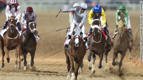 Victor Espinoza rides California Chrome to victory in the Dubai World Cup at Meydan Racecourse.