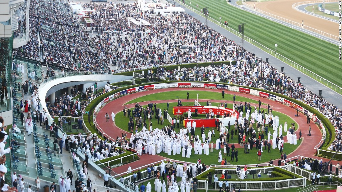 A general view of the packed winners' enclosure during the Dubai World Cup at Meydan Racecourse