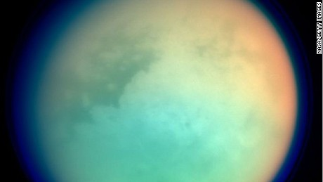 UNDATED: This undated NASA handout shows Saturn's moon, Titan, in ultraviolet and infrared wavelengths. The Cassini spacecraft took the image while on its mission to.  gather information on Saturn, its rings, atmosphere and moons. The different colors represent various atmospheric content on Titan.  (Photo by NASA via Getty Images)
