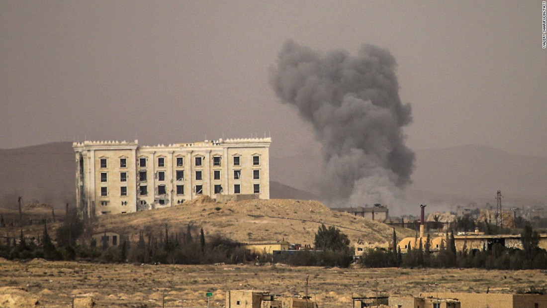Smoke rises near Palmyra during the operation to retake the town on March 24.