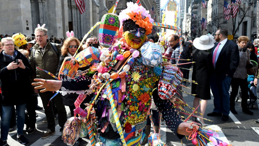 Fantastic costumes are intermingled with more traditional Easter attire.