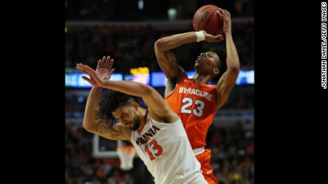 Syracuse freshman guard Malachi Richardson led the way with 23 points and seven rebounds in Sunday's win against No. 1 Virginia. He was voted the Midwest Region Most Outstanding Player.