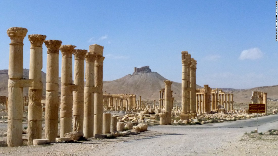 Greco-Roman inspired Persian columns remain standing after Syrian troops routed ISIS militants and recaptured the ancient city, once an oasis on a vital caravan route.