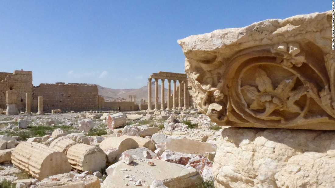 A relief carved into an ancient ruin in the city of Palmyra, recently liberated from ISIS control. Fears of widespread destruction to the UNESCO site appear to have been at least partly ameliorated.