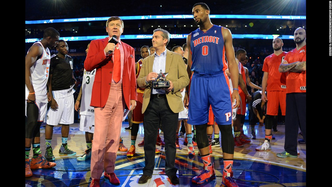 Sager with Andre Drummond and Angel Cano at a charity game in 2014. He had a walk-in closet for his outfits at his home in Canton, Georgia, and he tried to never wear the same jacket-and-tie combo twice.