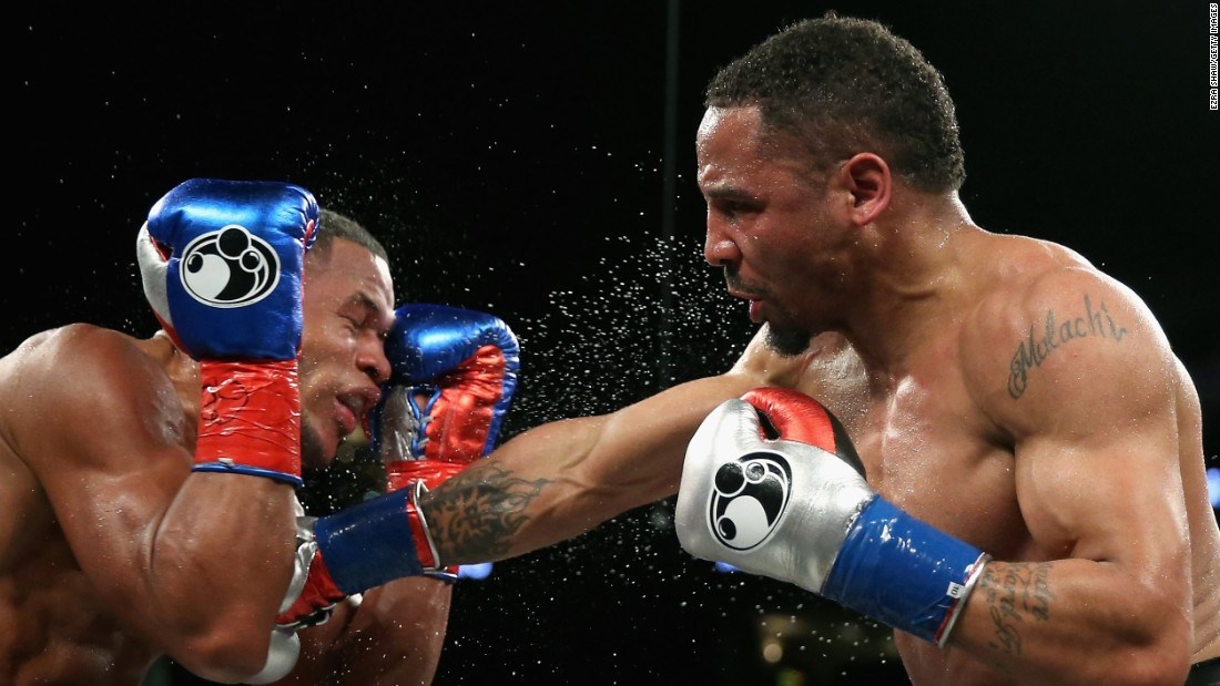 Andre Ward punches Sullivan Barrera during their light-heavyweight bout in Oakland, California, on Saturday, March 26. Ward won by unanimous decision to improve his record to 29-0.