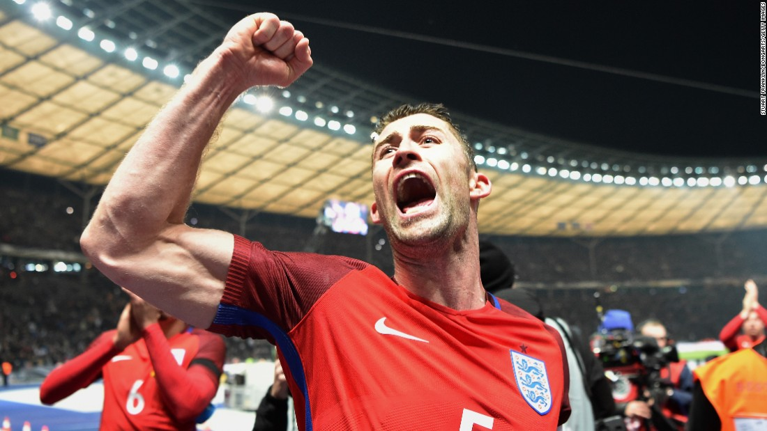 England defender Gary Cahill celebrates after his team defeated Germany 3-2 in a friendly match in Berlin on Saturday, March 26.