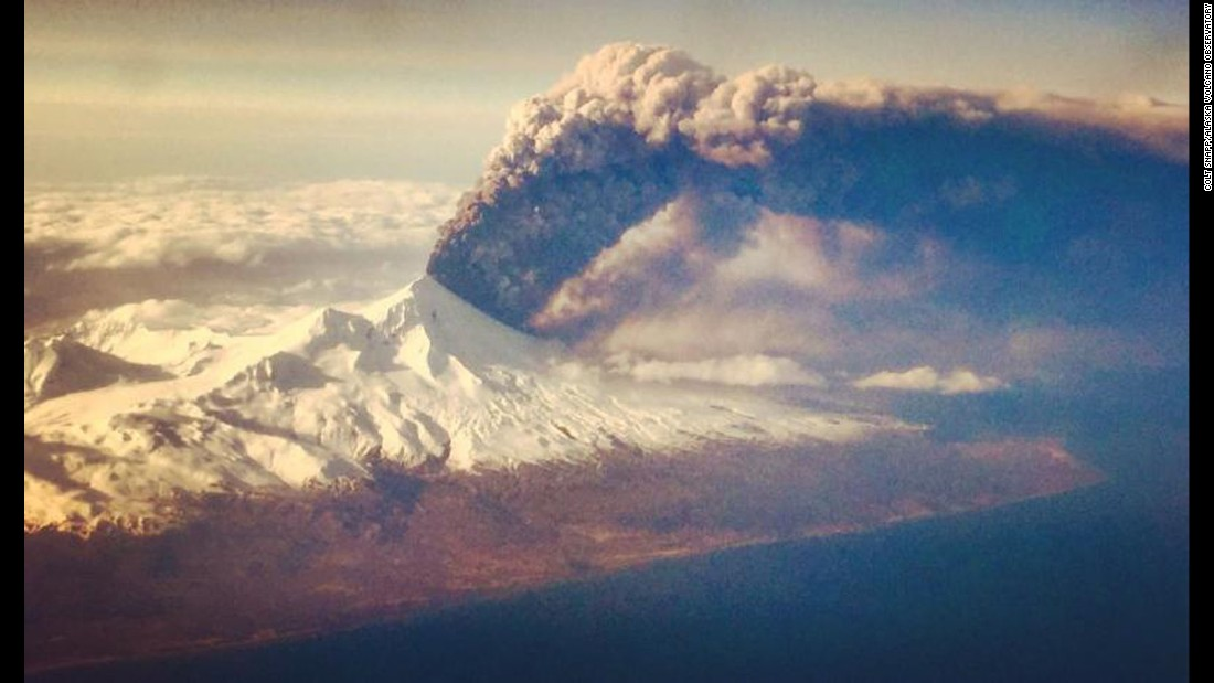The Pavlof volcano erupts on Alaska's remote Aleutian Island archipelago in March 2016.