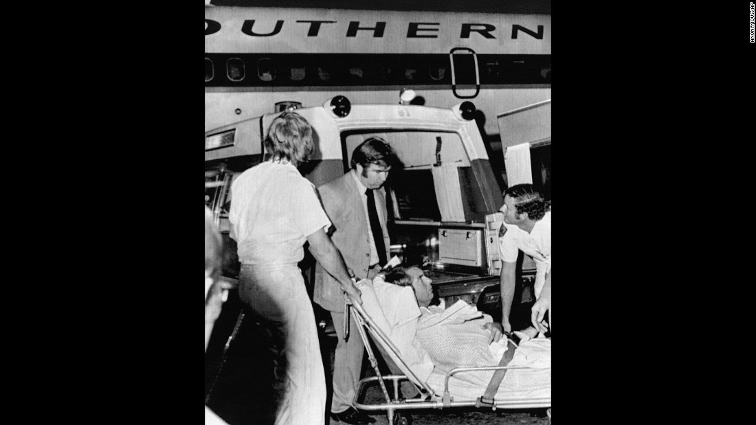 Southern Airways co-pilot Billy Johnson of College City, Arkansas, was wounded in his right shoulder during a hijacking at Miami International Airport in November 1972.