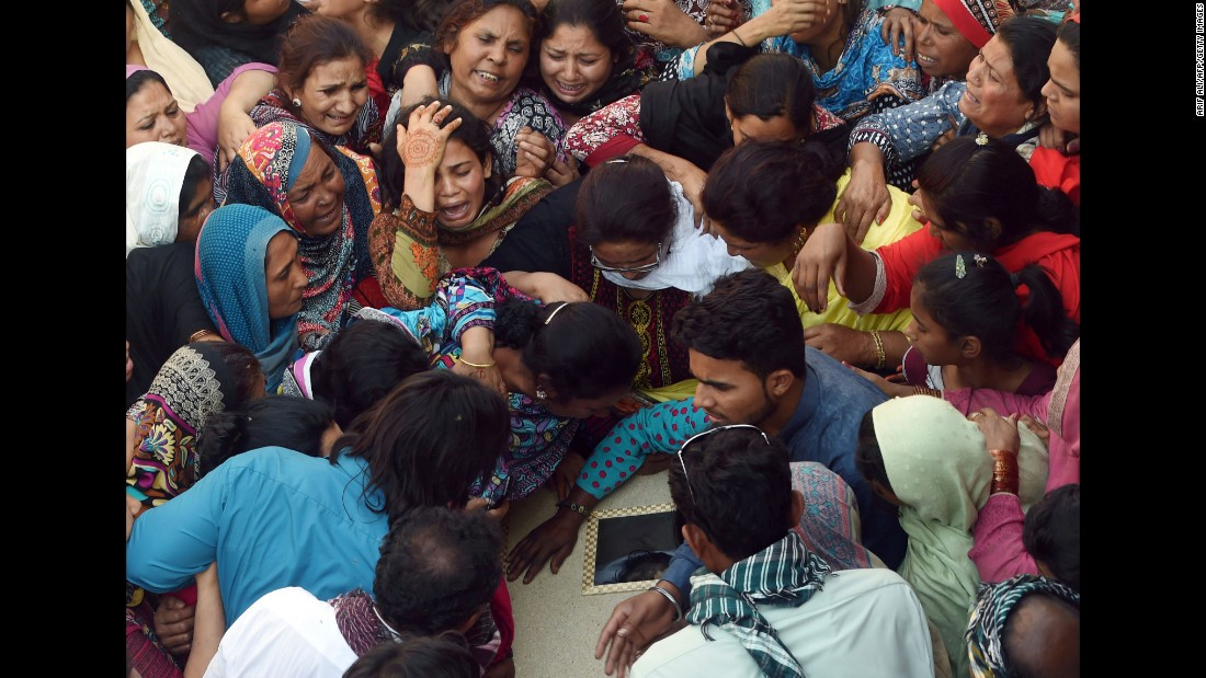 A funeral is held for a blast victim in Lahore on March 28.