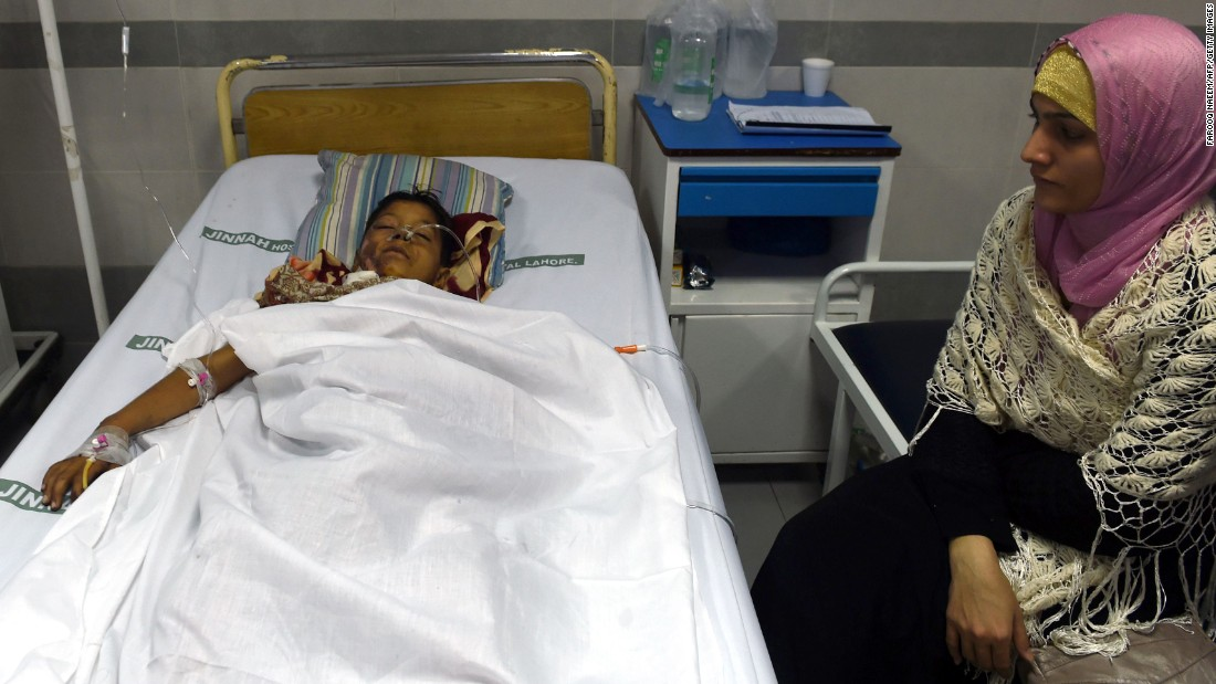 An injured child rests in a Lahore hospital on March 28.