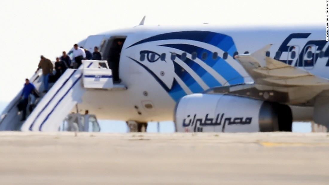 "EgyptAir Flight 181 en route to Cairo from Alexandria <a href=""http://www.cnn.com/2016/03/29/europe/hijacked-egypt-air-jet/index.html"">was hijacked and diverted to Cypress</a> on Tuesday, March 29. Here, some passengers disembark on the tarmac at Larnaca International Airport in Cyprus. All the passengers eventually were released and the hijacker arrested, according to the airline and Cypriot authorities."