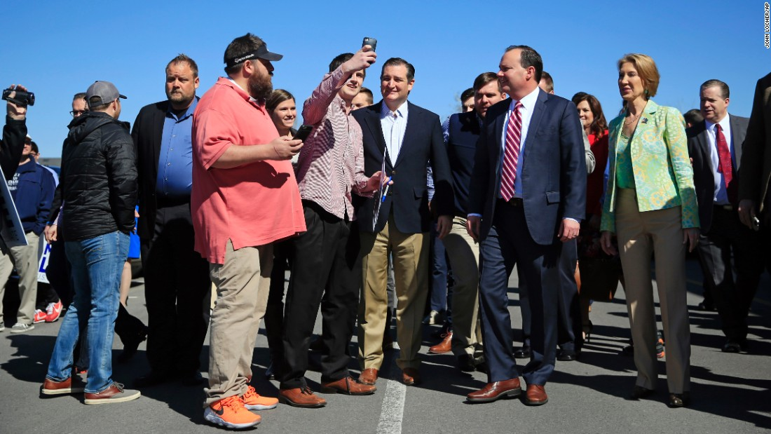 U.S. Sen. Ted Cruz, a Republican presidential candidate, poses for a selfie in Draper, Utah, on Saturday, March 19.