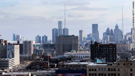 The downtown skyline of Detroit, Michigan, in 2013.
