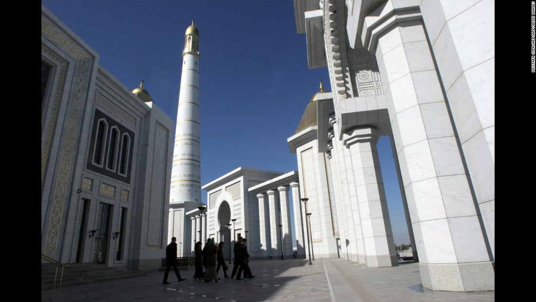 Niyazov also banned ballet, the circus, beards on men and even sport. He died in 2006, but the city was prepared: the Turkmenbashi Ruhy Mosque was completed in 2004 and contained a soon-to-be-filled mausoleum (pictured) -- commissioned, of course, by Niyazov.