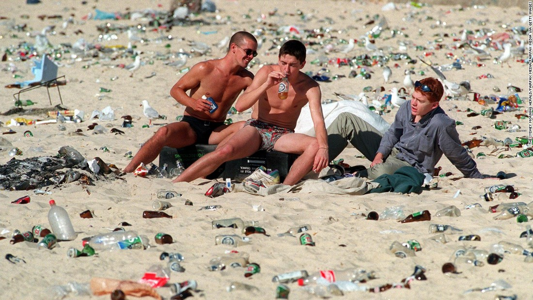 This was the hard-drinking scene at Sydney's Bondi Beach the day after Christmas in 1995. Things are quieter now.
