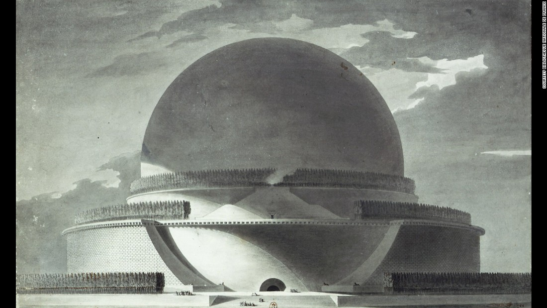 Spheres were integral to the work of mathematician Sir Isaac Newton, in life and, at one time, in death. The great scientist worked out the force holding us to the big sphere beneath our feet, and French architect Etienne-Louis Boullee thought it would be a fitting shape to remember him by. In 1784 he drew up plans for a grand, 500 foot (150 m) cenotaph -- eight meters taller than Strasbourg Cathedral, the highest building at the time.