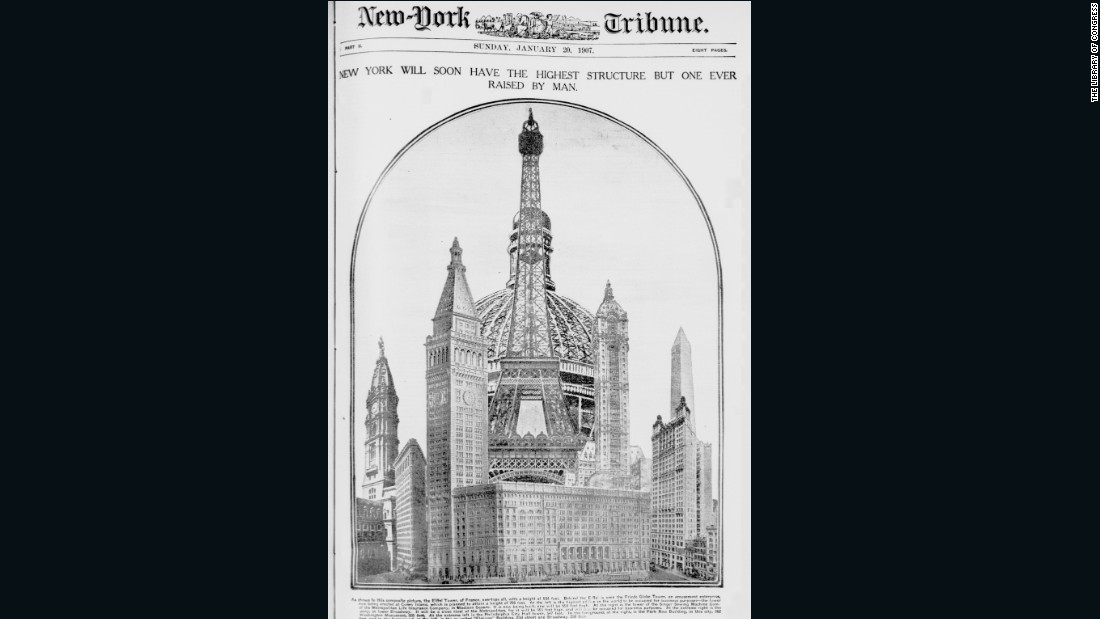 The Coney Island Globe Tower, seen at the rear of this New York Tribune cover, was the ambitious megastructure dreamed up by Samuel Friede. Proposed in May 1906, it was to include a 700 foot (213 meter) sphere with multiple floors, containing everything from restaurants to garden to a bowling alley -- not to mention the world's largest ballroom and a theme park. All in all, it would have fitted 50,000 people and operate 24 hours a day.