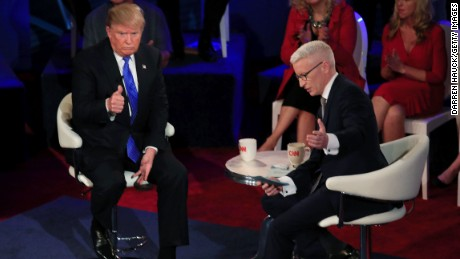 Republican Presidential candidate Donald Trump takes part in a town hall event moderated by Anderson Cooper March 29, 2016 in Milwaukee, Wisconsin.