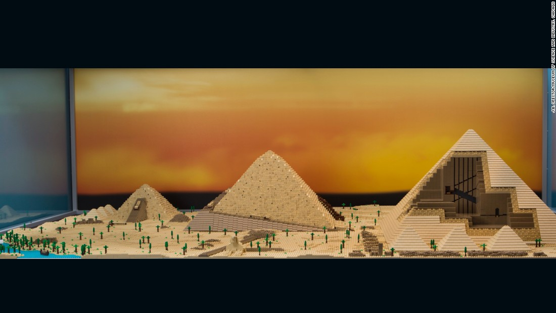 The pyramids took 45 hours build and are made up of 24,000 bricks. A close look reveals that the corner contains rare Lego pieces that are no longer made.