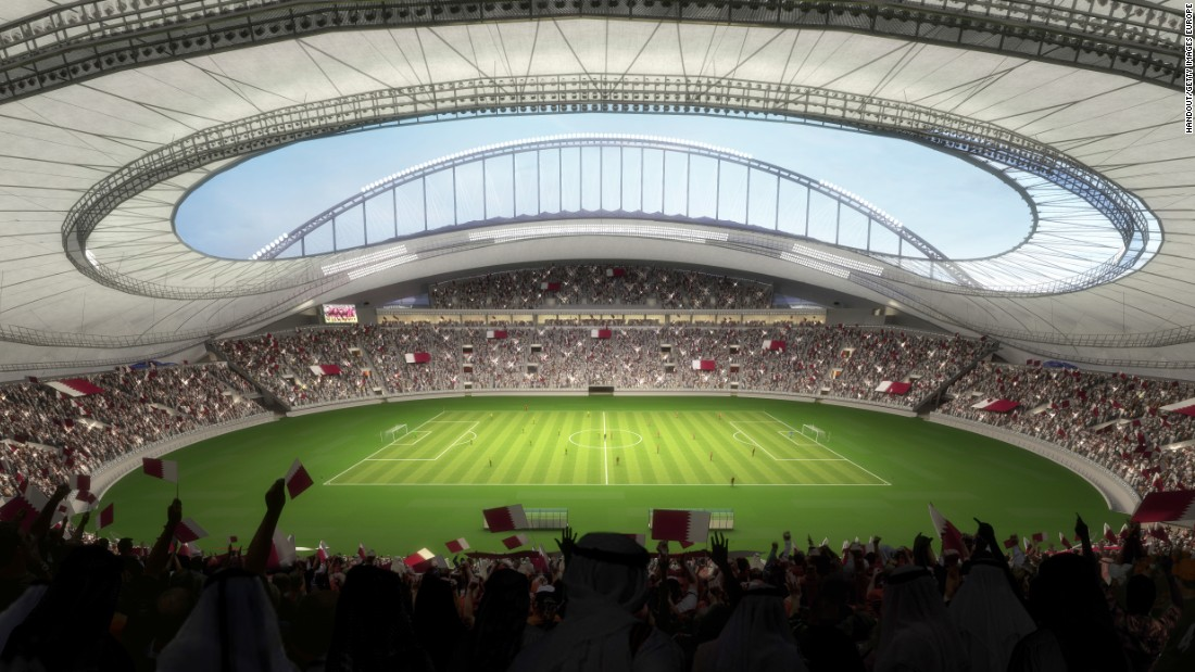 An artist's impression shows what the finished Khalifa stadium will look like. Qatar is spending a reported $200 billion -- more than any previous World Cup host -- on nine new air-conditioned stadiums, the major refurbishment of three venues and infrastructure.