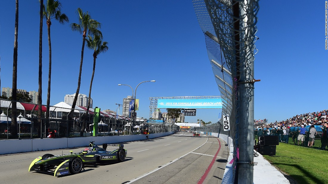 Formula E headed to the famous Southern California circuit in 2015. Nelson Piquet Jr leads the pack of electric cars under glorious blue skies at last April's race.