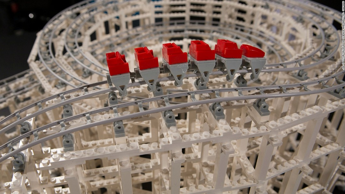 The exhibition includes a plastic building block replica of the wooden American Eagle roller coaster at Six Flags Great America theme park in Illinois.