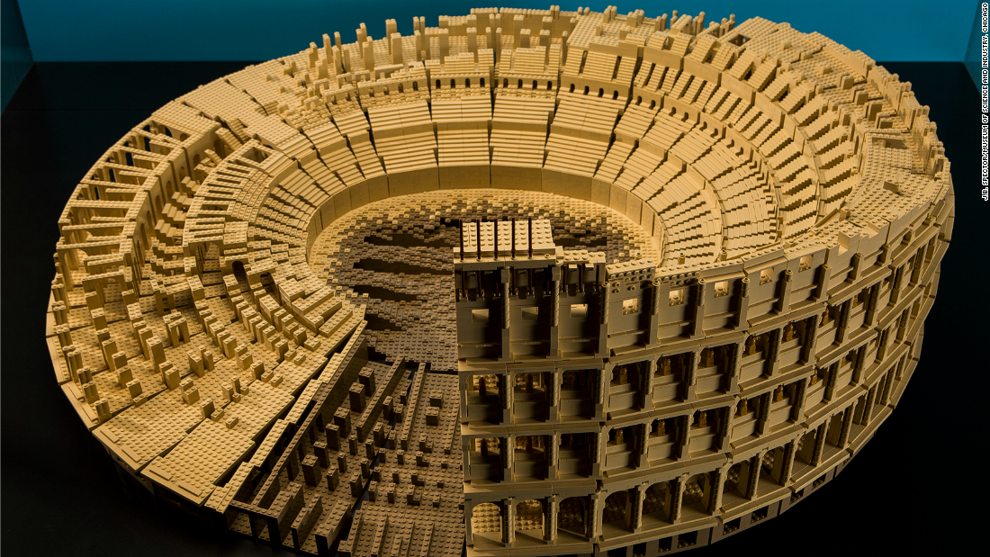 The Roman Colosseum took Tucker 120 hours to design and 75 to build. It's one of many architectural wonders of the world on display at the exhibit.