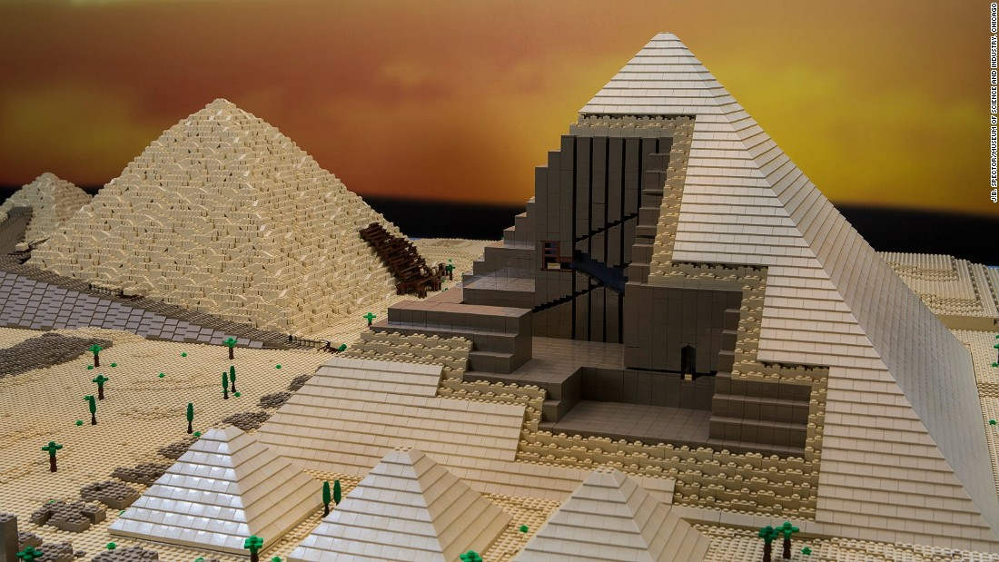 "This Lego replica of the Great Pyramid of Giza is 12 feet long and took 50 hours to design. The ""Brick by Brick"" exhibition is on display until February 2017.<br />"