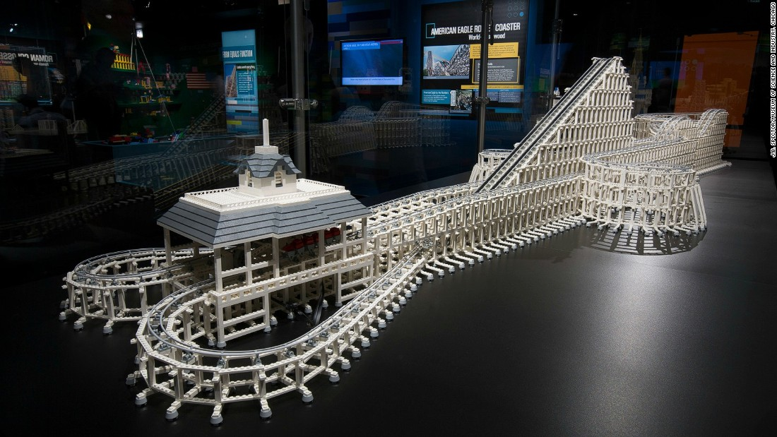 The Lego American Eagle is 12 feet long, took 55 hours to design and 70 hours to build. It's made up of 14,500 bricks.