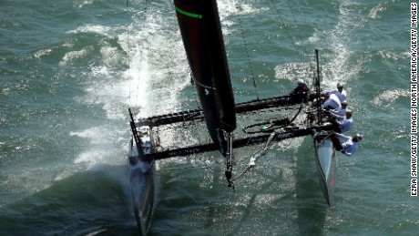 Defending America's Cup champions Oracle Team USA in action in 2012 in San Francisco, California.