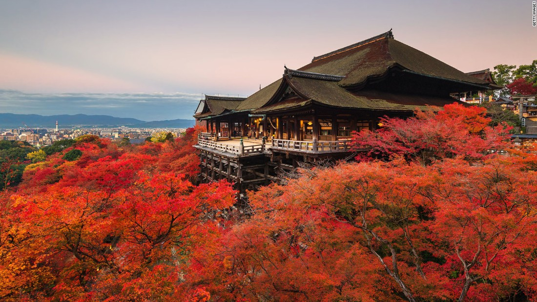 "Kiyomizu-dera (""Pure Water Temple"") is where worshipers believe the Goddess of Mercy resides. Over 1,200 years old, the Buddhist temple is located in Kyoto and is a UNESCO World Heritage Site."