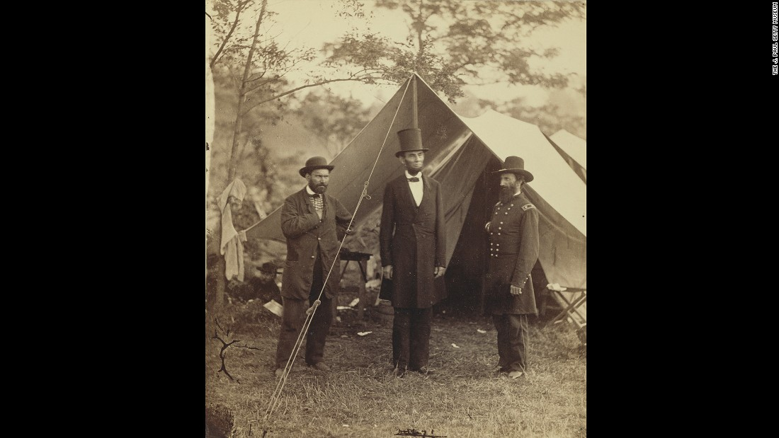 "U.S. President <a href=""http://www.cnn.com/2015/06/18/us/gallery/tbt-abraham-lincoln-portraits/"" target=""_blank"">Abraham Lincoln,</a> center, was photographed by Alexander Gardner on the Antietam battlefield in Maryland. The Scottish-born Gardner immigrated to the United States at the beginning of the Civil War. He became friends with Allan Pinkerton, left, who was a private investigator and head of the Union Intelligence Service."