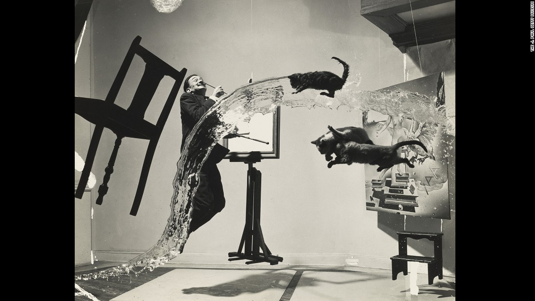 "Photographer <a href=""http://www.cnn.com/2015/10/08/entertainment/gallery/tbt-philippe-halsman-jump-book/"" target=""_blank"">Philippe Halsman</a> met painter Salvador Dali, pictured, in 1941. After that, they worked together at least once a year. ""An elating game,"" <a href=""http://philippehalsman.com/halsman/halsman-dali-a-personal-history/"" target=""_blank"">Halsman wrote</a> in 1972, ""creating images that did not exist, except in our imaginations. Whenever I needed a striking protagonist for one of my wild ideas, Dali would graciously oblige. Whenever Dali thought of a photograph so strange that it seemed impossible to produce, I tried to find a solution."""
