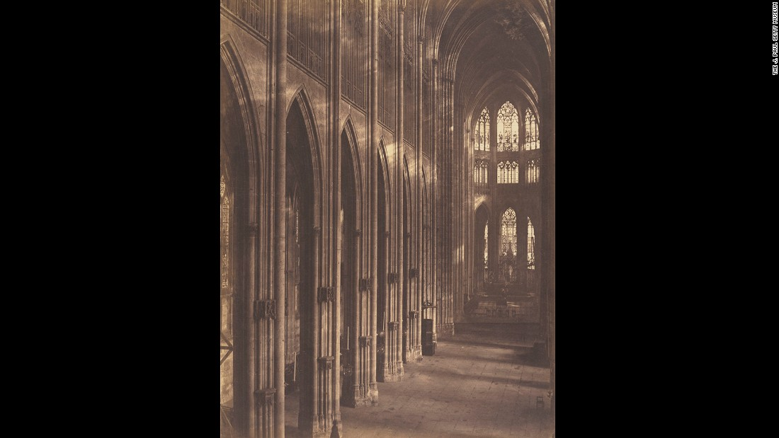This photo was taken in 1857 at the Church of St. Ouen in Rouen, France. Photographer Louis-Auguste Bisson and his brother, Auguste-Rosalie, worked with large-format cameras using a wet-plate process that made glass negatives. When photographic postcards became popular, the Bissons refused to make small prints of their work and they were forced to close their studio.