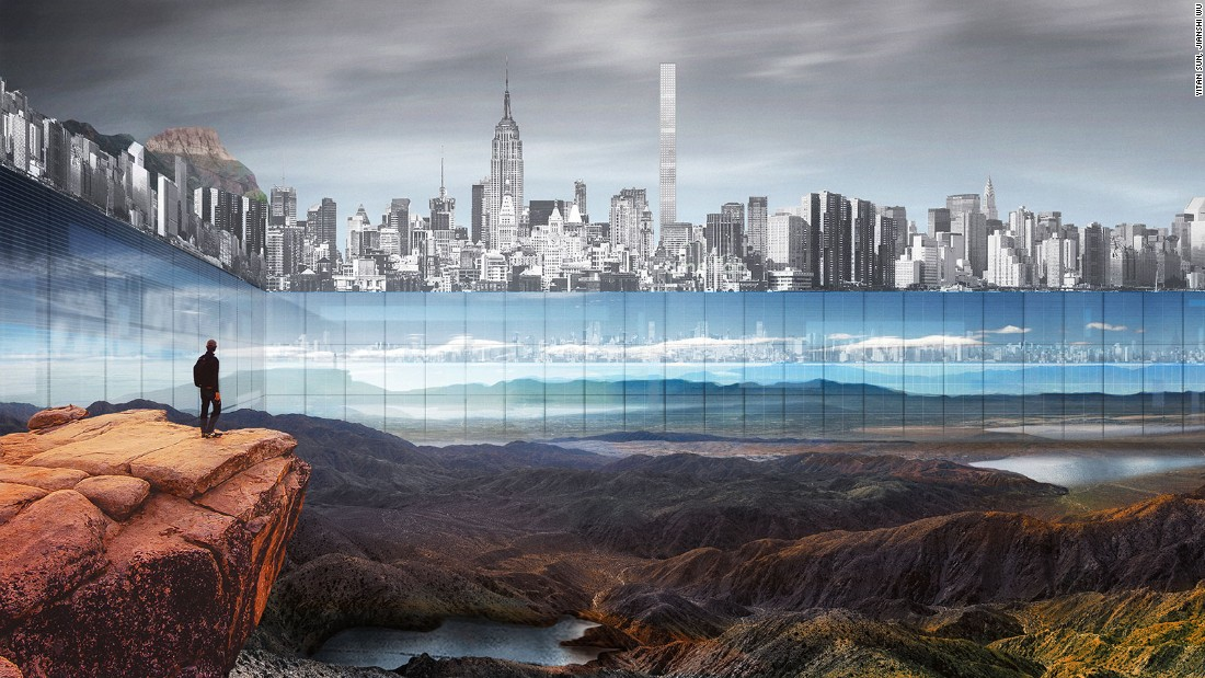 A 1,000-foot glass wall would be built around New York's Central Park, to create the illusion of infinite greenery.