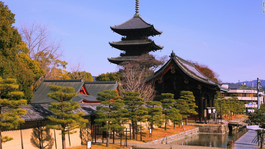 The five-story pagoda of this temple pavilion, standing 180 feet high (54.8 meters), is the tallest wooden tower in Japan.