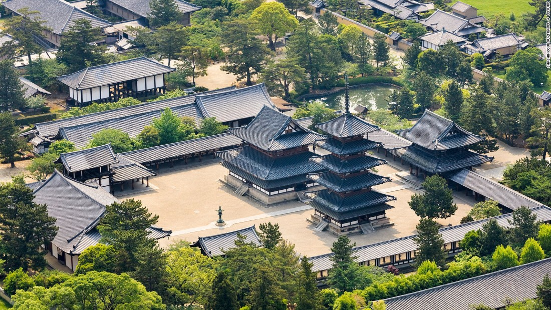 "Horyu-ji -- ""Temple of the Flourishing Law"" -- is both a seminary and a monastery. The temple's pagoda is one of the oldest wooden buildings in the world."