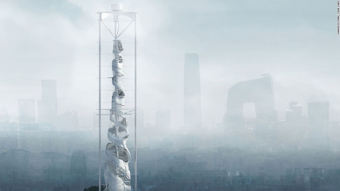 The creation of American designers Changsoo Park and Sizhe Chen is designed for the world's most polluted cities. It houses a large vacuum on its lower floors, which sucks in polluted air and distributes it through cleaning filters on higher floors.