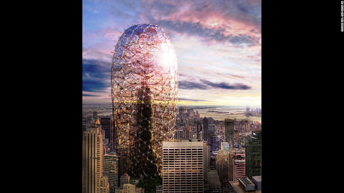 "Soomin Kim and Seo-Hyun Oh, from South Korea, imagined an environmentally conscious make-over for New York's Empire State Building. This tower is wrapped in an environmentally friendly ""skin"" of pods and panels that create a greenhouse environment within the enclosure."